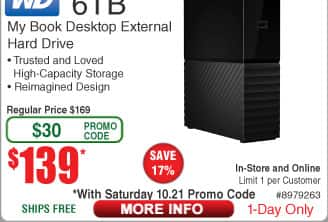 WD 6TB My Book USB 3.0 External Hard Drive $139 (w/emailed code)