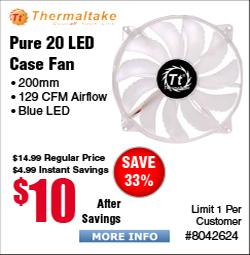 Thermaltake Pure 20 LED Case Fan $10