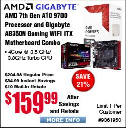AMD 7th Gen A10 9700 Processor & Gigabyte AB350N Gaming ITX Motherboard Combo Bundle $160AR