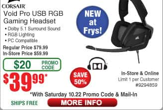 Corsair VOID Pro RGB USB Premium Gaming Headset with Dolby® Headphone 7.1 - Carbon $40 (w/emailed code)