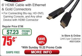 "6' Bytecc HDMI cable $0.75 (w/emailed code starts 10/22) 27"" LG FHD IPS Monitor $139"