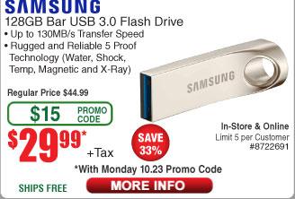 "Samsung - BAR 128GB USB 3.0 Flash Drive $30 w/FS (w/emailed code 10/23) Inland 5x7"" Photo Paper $0.47;  Canon Pixma MX-492 AIO Printer $39"