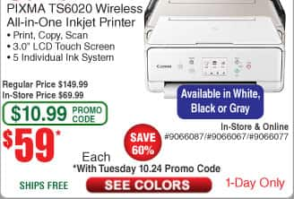 Canon PIXMA TS6020 Compact Wireless All-in-One Auto Duplex Printer $59 (w/emailed code)