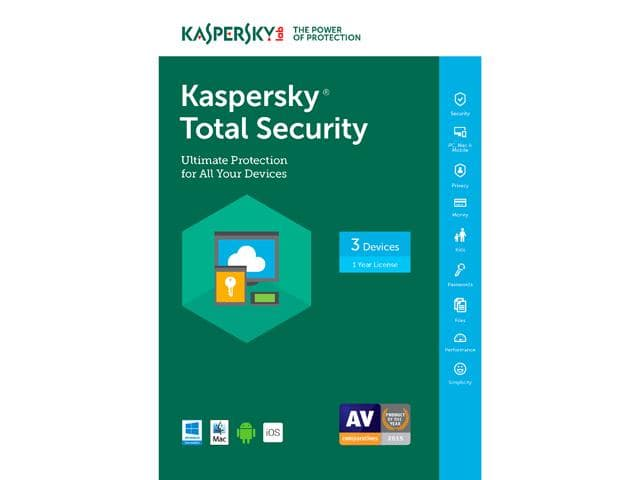 Kaspersky Total Security 2017 - 3 Device (Free upgrade to 2018) Free after $60 Rebate