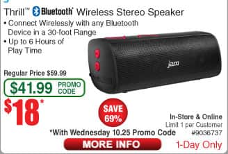 HMDX Jam Thrill™ Bluetooth Wireless Stereo Speaker - Red $18 (w/emailed code)