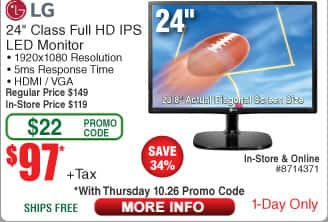 """24"""" LG 24MP48HQ-P Black FHD 5ms (GTG) IPS Panel HDMI LED Monitor $97 (w/emailed code)"""