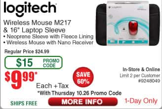 "Logitech M217 Wireless Mouse & 16"" Laptop Sleeve $10 (w/emailed code 10/26)"