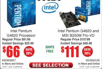 Intel Pentium G4620 CPU $66  (bundle w/B250 Motherboard $111);  NZXT S340 Case $55AC