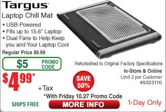 Targus Dual-Fan Laptop Chill Mat *RFB* $5 w/FS  (w/emailed code 10/27)