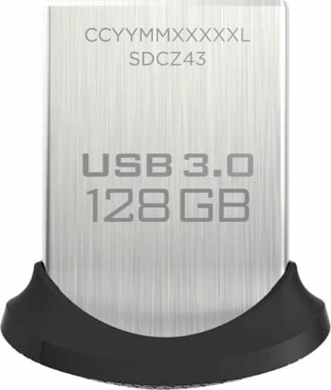 SanDisk - Ultra Fit 128GB USB 3.0 Type A Flash Drive - Black/Silver $28@Bestbuy