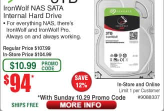 3TB Seagate Ironwolf NAS Hard Drive $94 (w/emailed code) 8TB Seagate Expansion Desktop HDD $158;  3TB WD My Passport $87