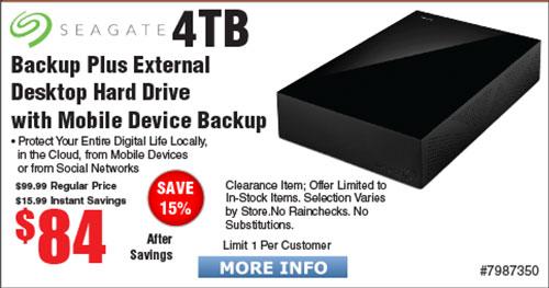 4TB Backup Plus Desktop Hard Drive $84