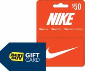 $10 BestBuy Gift Card w/ purchase of $100 in Nike Gift Card(s)