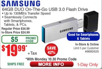 Intel i3 7320 CPU $99; 64GB Samsung DUO OTG USB 3.0 Flash Drive $20 (w/emailed code 10/30) Inland Laptop Cooler $4;