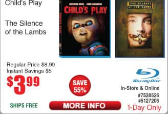 Silence of the Lambs or Child's Play BluRay $4 w/FS Omen Complete Collection $9