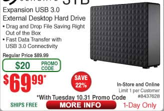 3TB Seagate Expansion Desktop Hard Drive $70 (w/emailed code)