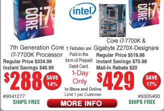 Intel Core i7-7700K CPU $288 (starts 11/2)