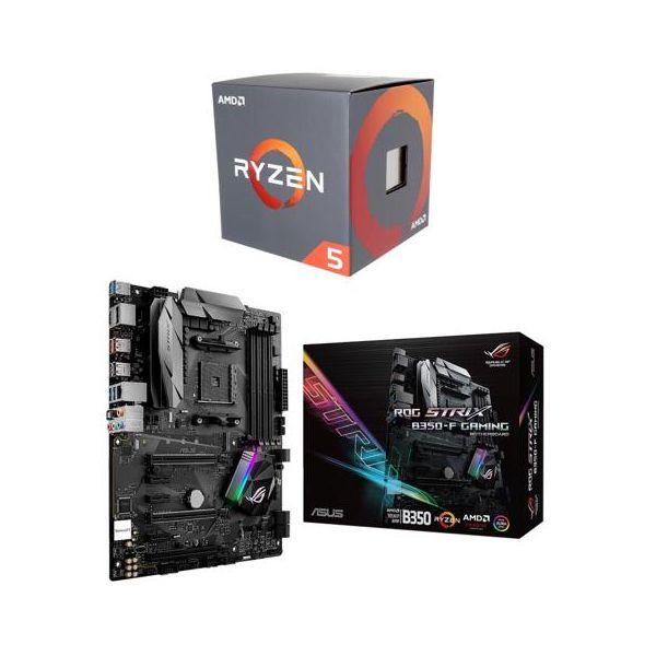 AMD RYZEN 5 1600 6-Core  CPU + Asus Strix B350-F AM4 Motherboard $282aR