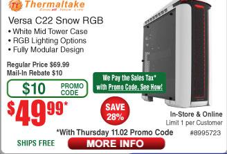 Thermaltake Versa C22 Snow ed RGB Mid Tower Case $50AR