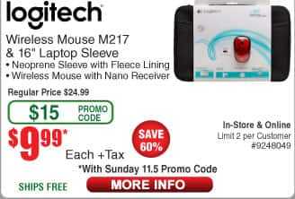 """Inland ProhT 6' HDMI Cable $0.89AC;  Logtiech M217 Wireless Mouse + 16"""" Laptop Sleeve $10AC (starts 11/5)"""