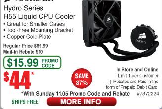 CORSAIR Hydro Series H55 Quiet Edition 120mm Water / Liquid CPU Cooler (AMD/Intel) $44AC (starts 11/5)