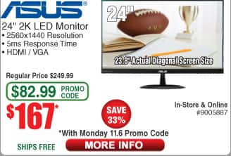 "ASUS VX24AH Black 23.8"" WQHD 2560x1440p IPS Frameless LED Monitor $167AC"