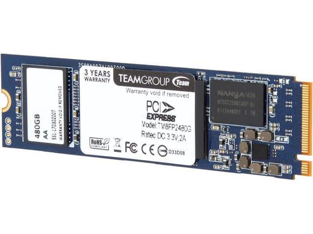 Team Group P30 M.2 2280 480GB PCIe 3.0 x4 with NVMe 1.2 SSD $180