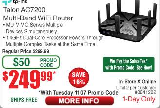 TP-LINK Talon AD7200 Multi-Band MU-MIMO Gigabit Router $250AC (11/7 only)