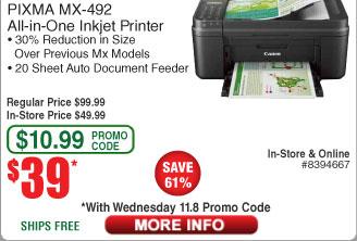 Canon Pixma MX-492 AIO Printer $39AC