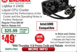 Enermax Liqmax II 240S Liquid Cooler $49AC