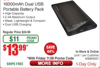 HyperGear 16000mAh Portable Battery Pack / Power Bank $14AC