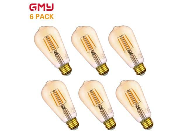 GMY Vintage Edison Filament LED Light Bulbs 4.5W (40W equiv) ST19 6-pk $14; 4/$10