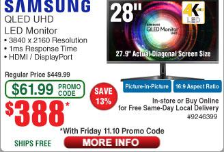 "28"" Samsung UH750 QLED 4K UHD Monitor $388AC"