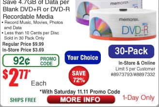 30-pk DVR-R or DVD+R $2.77AC