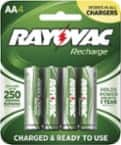 Rayovac Recharge Plus Rechargeable AAA, AA Battery 4-Pack or  D 2-pk $5; Smart charger w/4xAA $7.49; C 2-pk/9V $3.74;   $5 11/11only