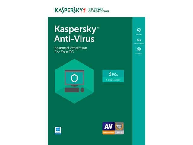 Kaspersky Anti-Virus 2017 - 3 PCs (Free upgrade to 2018) Free after $40 Rebate