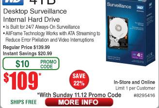 4TB WD Purple Surveillance Hard Drive $109AC @Frys 10TB Seagate Skyhawk HDD $299AC