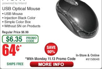 Inland ProHT USB Optical Mouse $0.64ac @Frys Belkin 6-outlet 630j Surge Protector $5