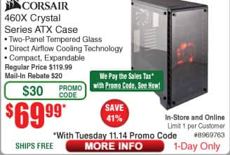Corsair Crystal Series 460X - Tempered Glass, Compact ATX Mid-Tower Case $70AR@Frys