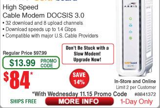 ARRIS SURFboard SB6190 DOCSIS 3.0 Cable Modem $84AC @Frys (starts 11/15)