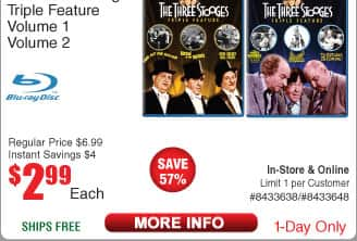 Three Stooges Triple Feature Vol 1 or 2 on BluRay $3AC w/FS (11/8)