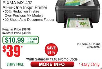 Canon Pixma MX-492 Wireless AIO Printer $39AC @Frys (11/18)