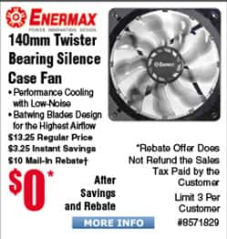Enermax TB Silence 140mm Case Fan Free after $10 Rebate; T40F 120mm CPU Cooler $15AR