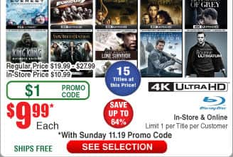 $6 BluRays @Frys Despicable Me 1 or 2; Minions; 50 Shades of Grey; Warcaft;  4K BluRays $10: Bourne; Snow White & the Huntsmen