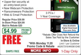 AVG Internet Security 2018 3-PC/1Yr Free after $20 Rebate (11/20