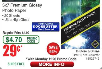 "GPBD 5x7"" Glossy Photo Paper 20-ct $0.29AC w/FS"
