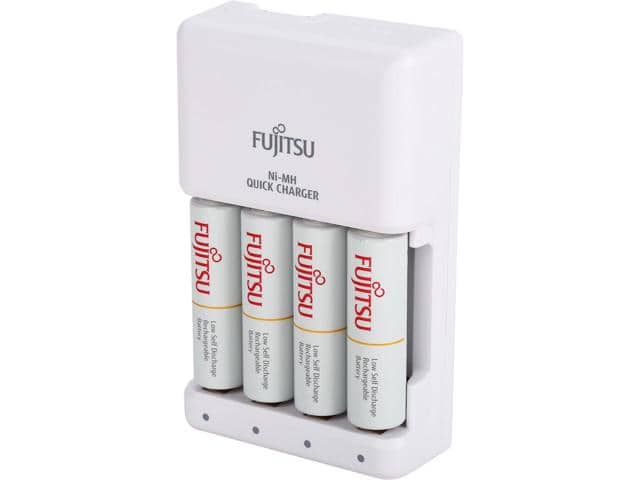 Fujitsu Smart Cut-Off Advance Individual AA/AAA Ni-MH Battery 4-hour Quick Charger Kit with 4-Pack AA $15
