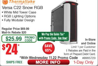 Thermaltake Versa C22 Snow ed RGB White Mid Tower Case $24AR @Frys