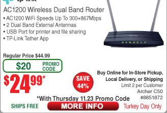 TP-Link Archer C50 AC1200 Dual Band Router $25AC @Frys
