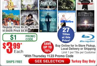 $4 BluRays @Frys Young Frankenstein, TrainWreck; Alien; Independence Day, Mrs. Doubtfire, Wolverine, Castaway & more @Frys